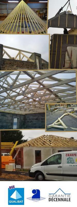 Neuf et rénovation fabrication de charpente bois, ossature extension, escalier, abri de ardin - Crépin Charpentire -44320 St-Pere-en-retz