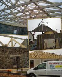 Charpentier-constructeur bois: charpente traditionnelle, fermette, ossature bois, extension, bardage.