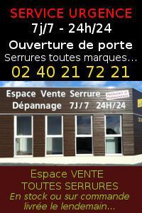 Dépannage serrurerie 7j/7 - 24h/24 et vente serrures et verrous Pornic - St Père en Retz - St Brévin…